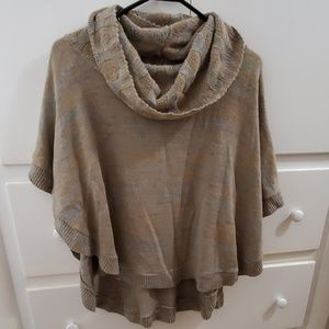 Cute grey and brown poncho sweater